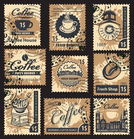 Set Briefmarken zum Thema Kaffeehaus Vektorgrafik
