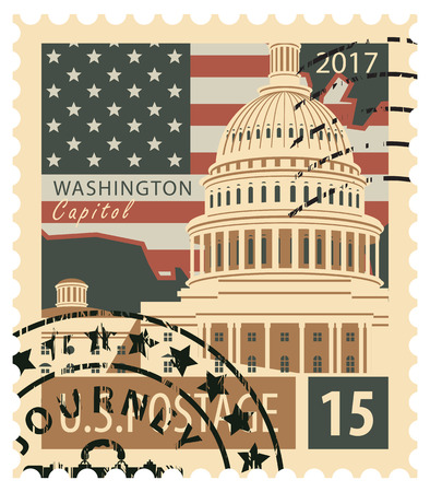 stamp with the image of the US Capitol in Washington DC