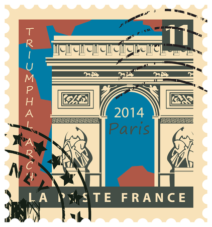 france stamp: stamp with the image of the Paris Triumphal Arch