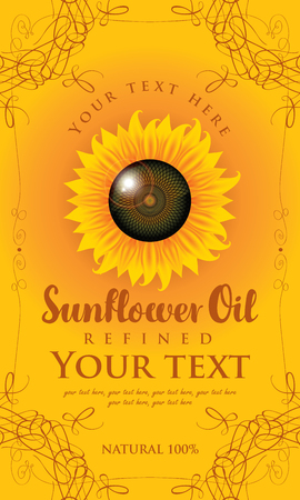 seed: vector label for refined sunflower oil with sunflower