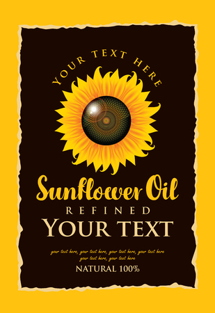 refine: vector label for refined sunflower oil with sunflower