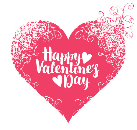 greeting card with inscription happy valentines day with hearts