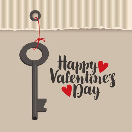 greeting card with inscription happy valentines day with hearts and key Illustration