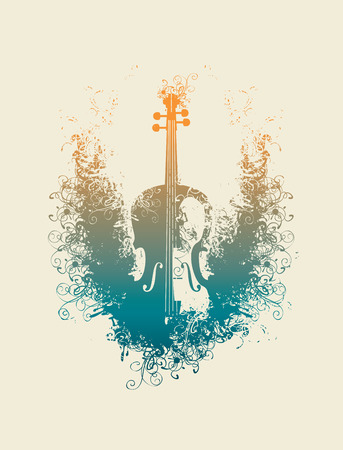 Vector drawing of a violin with floral patterns