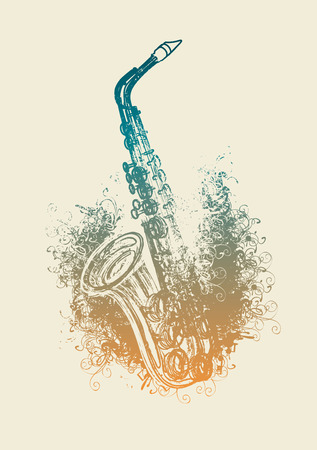 Vector drawing of a saxophone with floral patterns