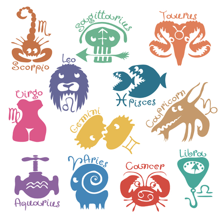vector set of funny color zodiac signs