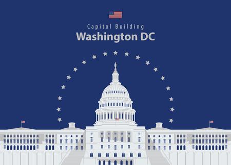 Vector illustration Capitol Building in Washington DC