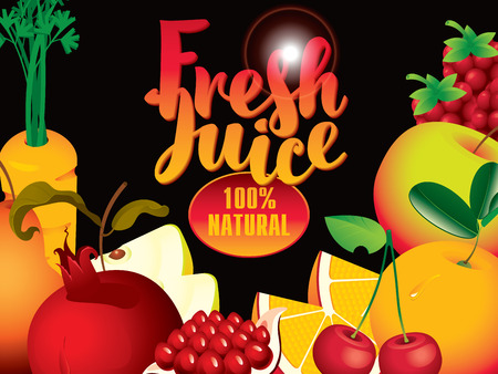 multivitamin: vector banner with different fruits and berries, and fresh juices inscription