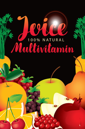 beverage: vector label packaging with different fruits and berries and fresh juices multivitamin inscription