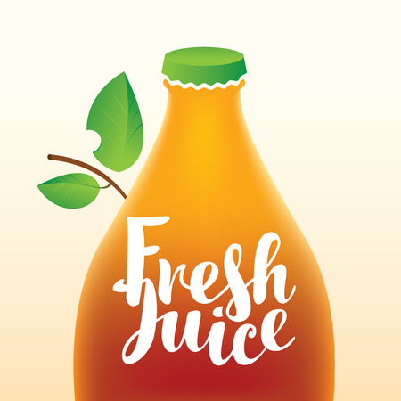 fresh leaf: vector banner with a bottle and leaf and the words fresh juice