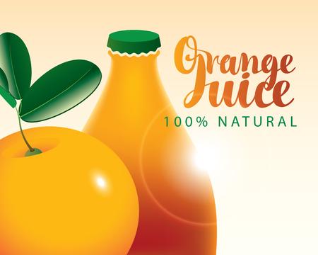 vector banner with orange and bottle juice Illustration
