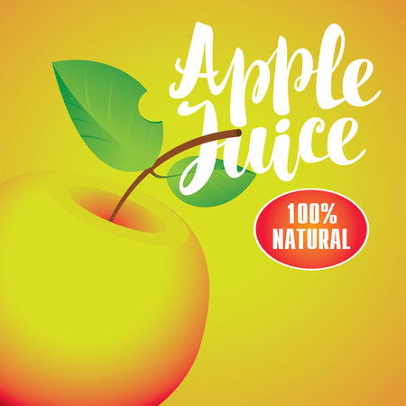 apple juice: Vector banner with apple and inscription apple juice