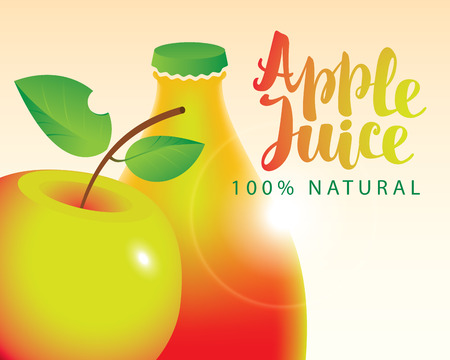 vector banner with apple and bottle juice
