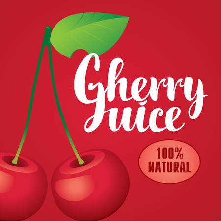Vector banner with cherry and inscription cherry juice