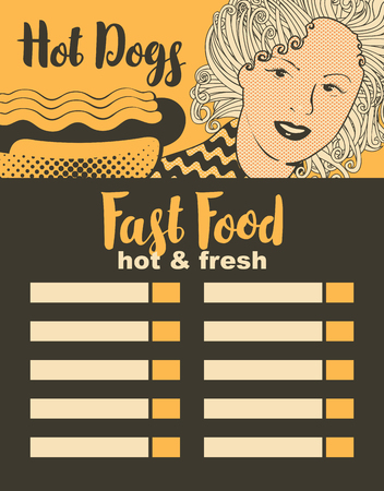 retro restaurant: menu for fast food restaurant with girl and hot dog in retro style
