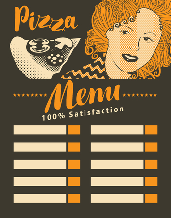 shop sign: menu for pizzeria with girl with pizza in retro style