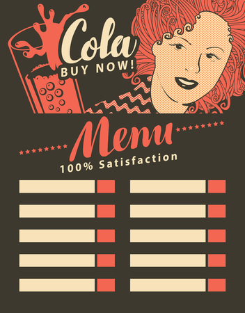 retro restaurant: menu for fast food restaurant with girl with cola in retro style