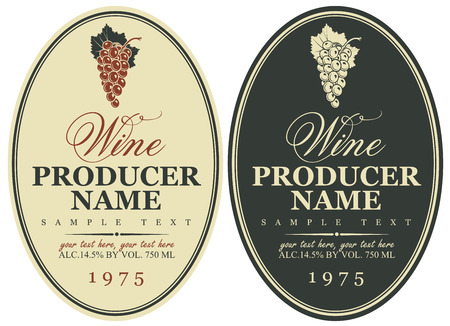 black grape: set wine labels with bunch of grapes