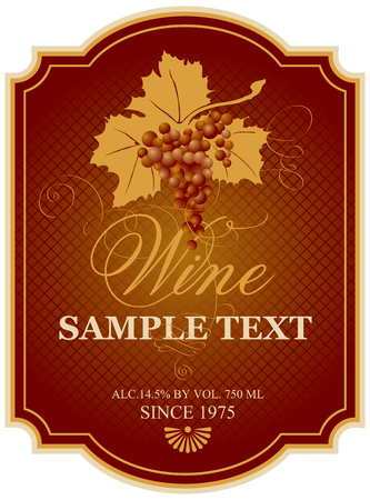 vector wine label with bunch of grapes Ilustracja