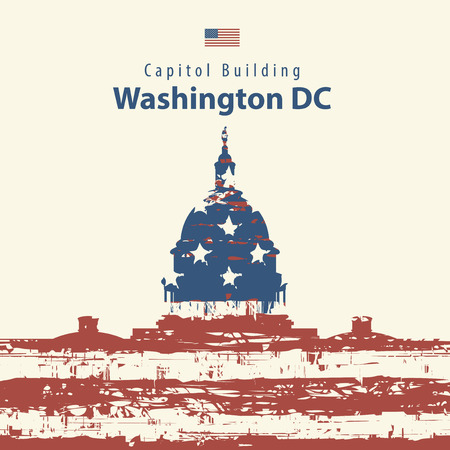 the white house: Vector illustration Capitol Building in Washington DC with flag