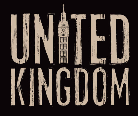 flag: scratched inscription United Kingdom with Big Ben