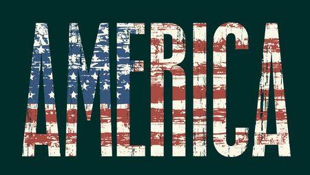 politics: Vector illustration Inscription America and American flag
