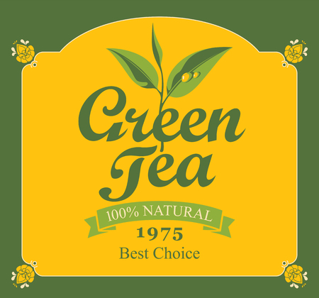 label for green tea with branch with leaves tea