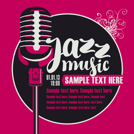 poster for a concert of jazz music with a microphone Illustration