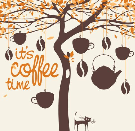 banner for the coffee house with a tree, beans, cups and teapot
