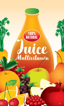multivitamin: vector label packaging with different fruits and berries and fresh juices multivitamin inscription