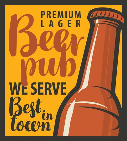 lager beer: vector banner for pub with bottles of beer in retro style