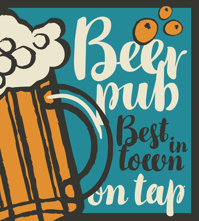 lager beer: vector banner for pub with glass of beer on tap in retro style Illustration