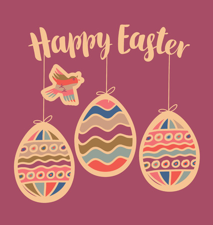ostern: vector greeting card with Easter eggs and bird, cut from paper