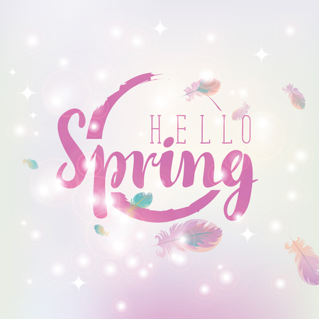 midday: hello spring inscription on an abstract background with highlights and feathers