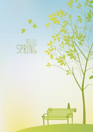 albero da frutto: Primavera-paesaggio con albero e panchina con un gatto