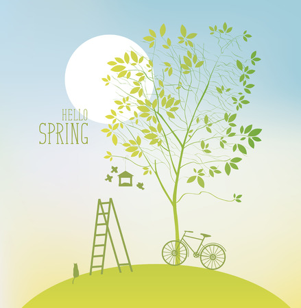 spring landscape with two tree, sun and bike Illustration