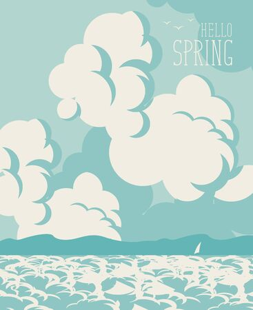 midday: Spring landscape with sky, clouds and sea with mountain Illustration