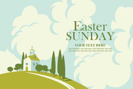 Carte de Pâques avec paysage avec église sur la colline et ciel avec nuages
