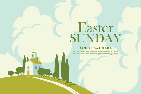 Easter card with landscape with church on the hill and sky with clouds