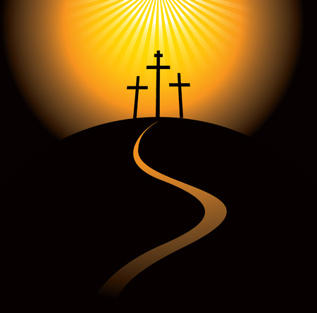 Crosses: mountain Calvary with three crosses with sky and sun