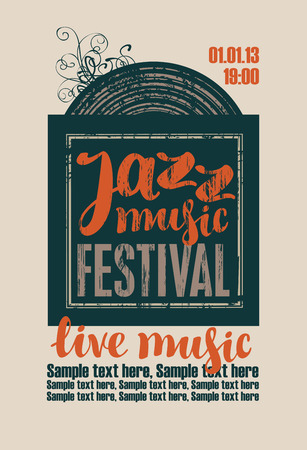 famous people: poster for the jazz festival with vinyl record