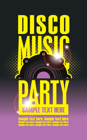 Disco Music party poster template and Audio speaker Illustration
