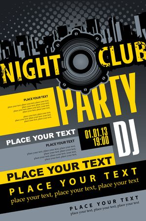 Music concept DJ party poster template for night club and Audio speaker