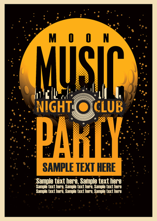 city: Disco Music party poster template and Audio speaker and night moon Illustration