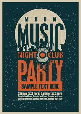Music party poster template and Audio speaker and night moon