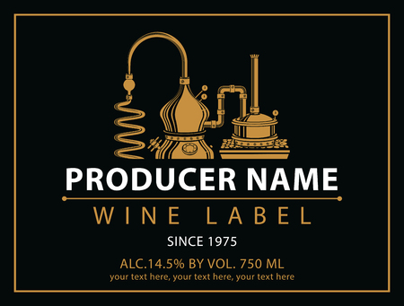 cognac: vector labels for wine with winery in black and gold Illustration