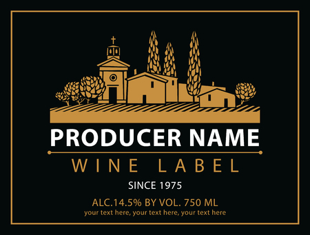 modern house: vector labels for wine with village with a vineyard in black and gold Illustration
