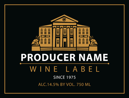 berry: vector labels for wine with urban landscape and castle in black and gold