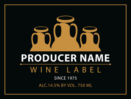 berry: vector labels for wine with crock in black and gold