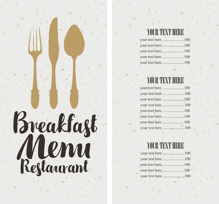 textured paper: vector restaurant and cafe breakfast menu template with cutlery and price